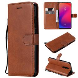 Retro Greek Classic Smooth PU Leather Wallet Phone Case for Xiaomi Redmi K20 Pro - Brown