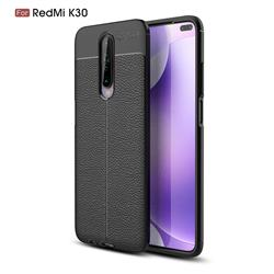 Luxury Auto Focus Litchi Texture Silicone TPU Back Cover for Xiaomi Redmi K30 - Black