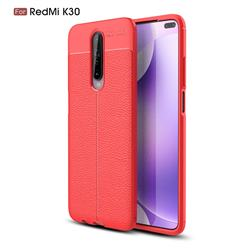 Luxury Auto Focus Litchi Texture Silicone TPU Back Cover for Xiaomi Redmi K30 - Red