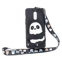 Cute Panda Neck Lanyard Zipper Wallet Silicone Case for Xiaomi Redmi K30