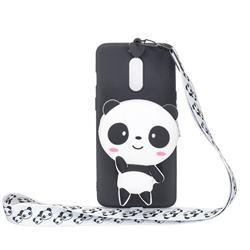 White Panda Neck Lanyard Zipper Wallet Silicone Case for Xiaomi Redmi K30