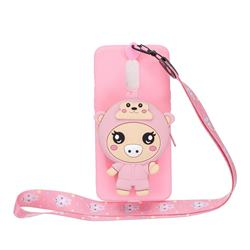 Pink Pig Neck Lanyard Zipper Wallet Silicone Case for Xiaomi Redmi K30