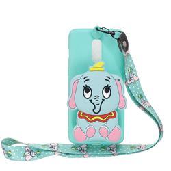 Blue Elephant Neck Lanyard Zipper Wallet Silicone Case for Xiaomi Redmi K30