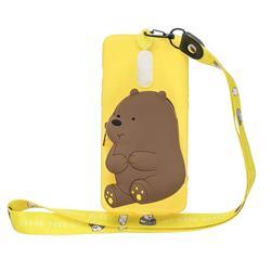 Yellow Bear Neck Lanyard Zipper Wallet Silicone Case for Xiaomi Redmi K30