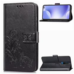 Embossing Imprint Four-Leaf Clover Leather Wallet Case for Xiaomi Redmi K30 - Black