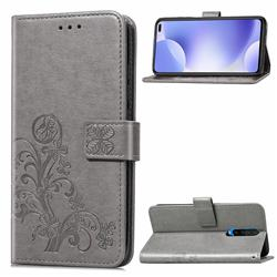 Embossing Imprint Four-Leaf Clover Leather Wallet Case for Xiaomi Redmi K30 - Grey
