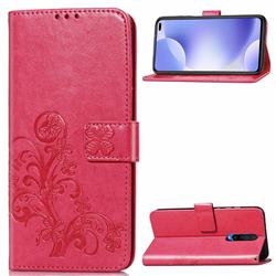 Embossing Imprint Four-Leaf Clover Leather Wallet Case for Xiaomi Redmi K30 - Rose
