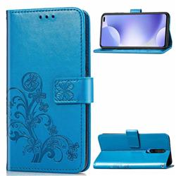 Embossing Imprint Four-Leaf Clover Leather Wallet Case for Xiaomi Redmi K30 - Blue