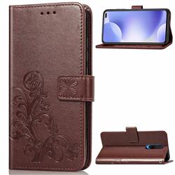 Embossing Imprint Four-Leaf Clover Leather Wallet Case for Xiaomi Redmi K30 - Brown