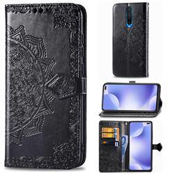Embossing Imprint Mandala Flower Leather Wallet Case for Xiaomi Redmi K30 - Black