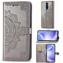 Embossing Imprint Mandala Flower Leather Wallet Case for Xiaomi Redmi K30 - Gray
