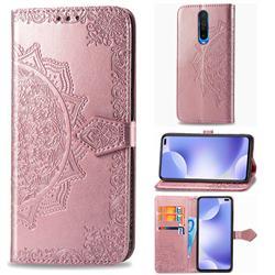 Embossing Imprint Mandala Flower Leather Wallet Case for Xiaomi Redmi K30 - Rose Gold