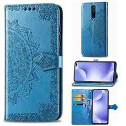 Embossing Imprint Mandala Flower Leather Wallet Case for Xiaomi Redmi K30 - Blue