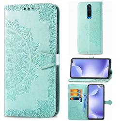 Embossing Imprint Mandala Flower Leather Wallet Case for Xiaomi Redmi K30 - Green