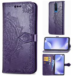 Embossing Imprint Mandala Flower Leather Wallet Case for Xiaomi Redmi K30 - Purple