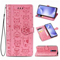 Embossing Dog Paw Kitten and Puppy Leather Wallet Case for Xiaomi Redmi K30 - Pink