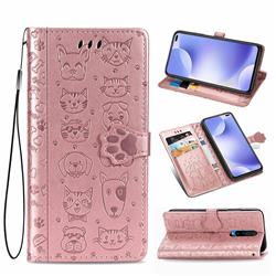 Embossing Dog Paw Kitten and Puppy Leather Wallet Case for Xiaomi Redmi K30 - Rose Gold