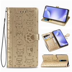 Embossing Dog Paw Kitten and Puppy Leather Wallet Case for Xiaomi Redmi K30 - Champagne Gold