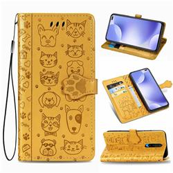 Embossing Dog Paw Kitten and Puppy Leather Wallet Case for Xiaomi Redmi K30 - Yellow