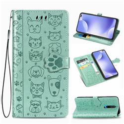 Embossing Dog Paw Kitten and Puppy Leather Wallet Case for Xiaomi Redmi K30 - Green