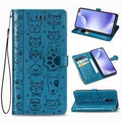 Embossing Dog Paw Kitten and Puppy Leather Wallet Case for Xiaomi Redmi K30 - Blue