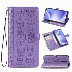 Embossing Dog Paw Kitten and Puppy Leather Wallet Case for Xiaomi Redmi K30 - Purple