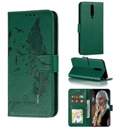 Intricate Embossing Lychee Feather Bird Leather Wallet Case for Xiaomi Redmi K30 - Green