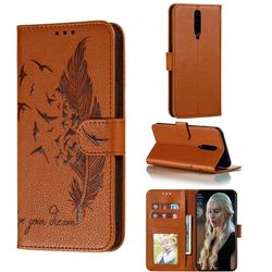 Intricate Embossing Lychee Feather Bird Leather Wallet Case for Xiaomi Redmi K30 - Brown
