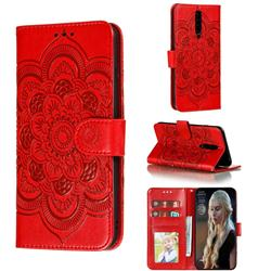 Intricate Embossing Datura Solar Leather Wallet Case for Xiaomi Redmi K30 - Red