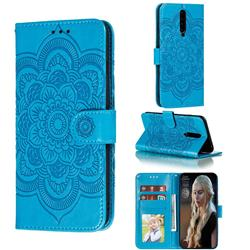 Intricate Embossing Datura Solar Leather Wallet Case for Xiaomi Redmi K30 - Blue