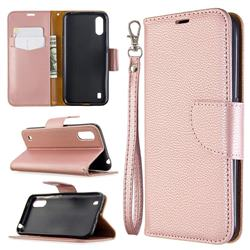 Classic Luxury Litchi Leather Phone Wallet Case for Xiaomi Redmi K30 - Golden