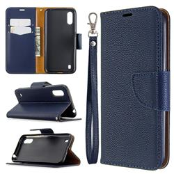 Classic Luxury Litchi Leather Phone Wallet Case for Xiaomi Redmi K30 - Blue