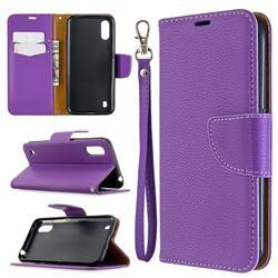 Classic Luxury Litchi Leather Phone Wallet Case for Xiaomi Redmi K30 - Purple