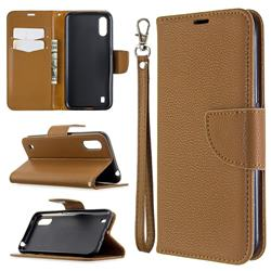 Classic Luxury Litchi Leather Phone Wallet Case for Xiaomi Redmi K30 - Brown