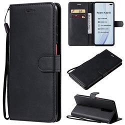 Retro Greek Classic Smooth PU Leather Wallet Phone Case for Xiaomi Redmi K30 - Black