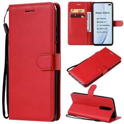 Retro Greek Classic Smooth PU Leather Wallet Phone Case for Xiaomi Redmi K30 - Red