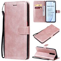 Retro Greek Classic Smooth PU Leather Wallet Phone Case for Xiaomi Redmi K30 - Rose Gold