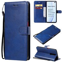 Retro Greek Classic Smooth PU Leather Wallet Phone Case for Xiaomi Redmi K30 - Blue
