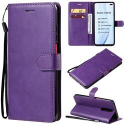 Retro Greek Classic Smooth PU Leather Wallet Phone Case for Xiaomi Redmi K30 - Purple