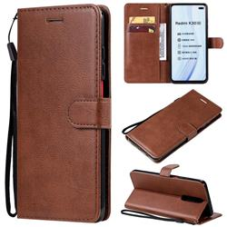 Retro Greek Classic Smooth PU Leather Wallet Phone Case for Xiaomi Redmi K30 - Brown