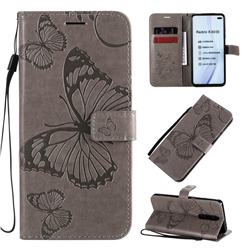 Embossing 3D Butterfly Leather Wallet Case for Xiaomi Redmi K30 - Gray