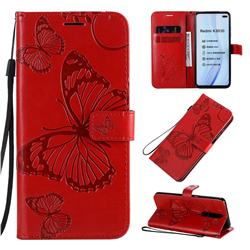 Embossing 3D Butterfly Leather Wallet Case for Xiaomi Redmi K30 - Red