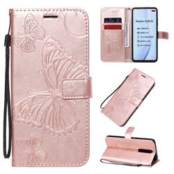 Embossing 3D Butterfly Leather Wallet Case for Xiaomi Redmi K30 - Rose Gold