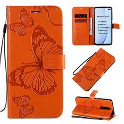 Embossing 3D Butterfly Leather Wallet Case for Xiaomi Redmi K30 - Orange