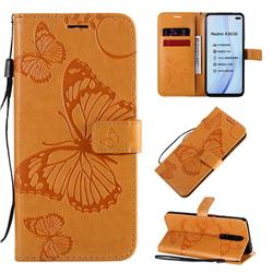 Embossing 3D Butterfly Leather Wallet Case for Xiaomi Redmi K30 - Yellow