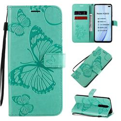 Embossing 3D Butterfly Leather Wallet Case for Xiaomi Redmi K30 - Green