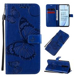 Embossing 3D Butterfly Leather Wallet Case for Xiaomi Redmi K30 - Blue