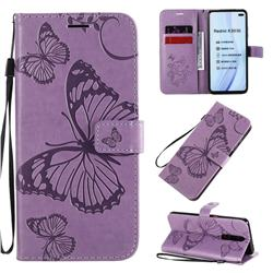Embossing 3D Butterfly Leather Wallet Case for Xiaomi Redmi K30 - Purple