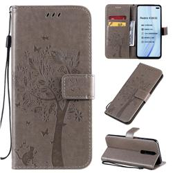 Embossing Butterfly Tree Leather Wallet Case for Xiaomi Redmi K30 - Grey
