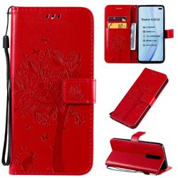 Embossing Butterfly Tree Leather Wallet Case for Xiaomi Redmi K30 - Red